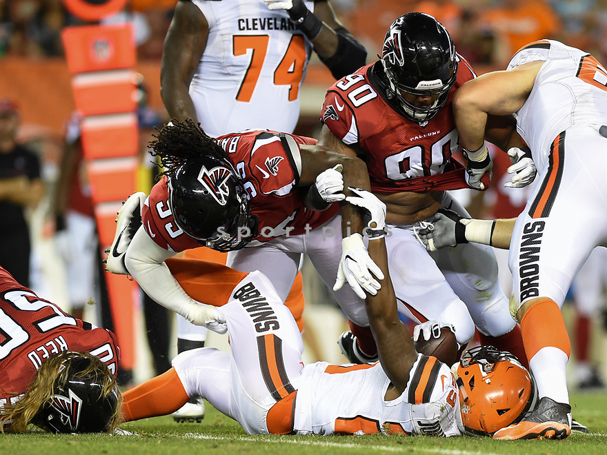 CLEVELAND, OH - AUGUST 18, 2016: Defensive tackle Jonathan Babineaux #95 of the Atlanta Falcons tackles running back Duke Johnson #29 of the Cleveland Browns in the first quarter of a preseason game on August 18, 2016 at FirstEnergy Stadium in Cleveland, Ohio. Atlanta won 24-13. (Photo by: 2016 Nick Cammett/Diamond Images) *** Local Caption *** Jonathan Babineaux; Duke Johnson