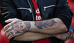 Liverpool fan with a Keeny Dalglish tattoo before the Champions League playoff round at the Anfield Stadium, Liverpool. Picture date 23rd August 2017. Picture credit should read: Lynne Cameron/Sportimage