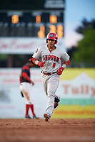 Auburn Doubledays left fielder Oliver Ortiz (9) running the bases after hitting a home run during a game against the Batavia Muckdogs on June 19, 2017 at Dwyer Stadium in Batavia, New York.  Batavia defeated Auburn 8-2 in both teams opening game of the season.  (Mike Janes/Four Seam Images)