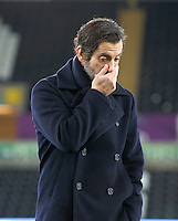 Watford manager Quinque Sanchez Flores on the pitch before the Barclays Premier League match between Swansea City and Watford at the Liberty Stadium, Swansea on January 18 2016