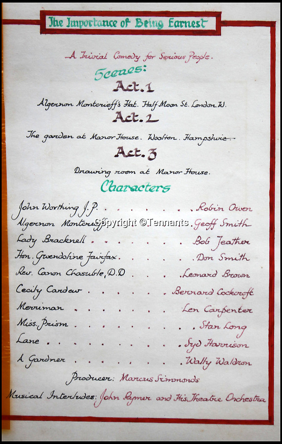 BNPS.co.uk (01202 558833)Pic: Tennants/BNPS<br /> <br /> 'The importance of Being Earnest' act sheet.<br /> <br /> Oh What a Lovely War...<br /> <br /> The extraordinary level of professionalism a group of British soldiers put into their theatre productions at a PoW camp can be revealed in a newly-discovered archive.<br /> <br /> So serious were the am-dram group of Stalag 383 they created a banked earth floor in a barn to form a sloping auditorium that became known as the 'Ofladium'.<br /> <br /> The men bartered their Red Cross parcels with their German guards for materials and props and then spent weeks creating sets that wouldn't look out of place in a West End theatre.<br /> <br /> The sets, costumes, performances and concert programmes were of almost professional standards, with a great deal of time, effort and skill clearly going into creating them.