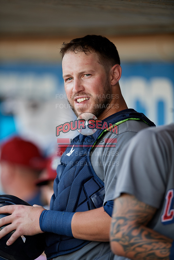 Lehigh Valley IronPigs catcher Logan Moore (35) in the dugout during a game against the Rochester Red Wings on September 1, 2018 at Frontier Field in Rochester, New York.  Lehigh Valley defeated Rochester 2-1.  (Mike Janes/Four Seam Images)
