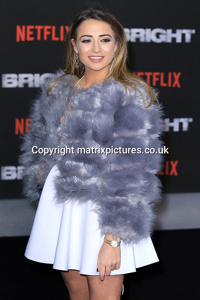 NON EXCLUSIVE PICTURE: MATRIXPICTURES.CO.UK<br /> PLEASE CREDIT ALL USES<br /> <br /> WORLD RIGHTS<br /> <br /> Love Island reality TV star Georgia Harrison attending the UK premiere of Netflix's 'Bright', held on London's Southbank.<br /> <br /> DECEMBER 15th 2017<br /> <br /> REF: MES 172875