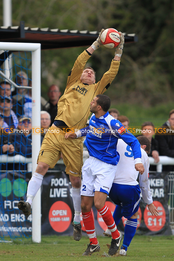 Leiston Goalkeeper Louis Johnson plucks the ball from the air - Enfield Town vs Leiston - Ryman League Division One North Football at the Queen Elizabeth II Stadium - 21/04/12 - MANDATORY CREDIT: Simon Roe/TGSPHOTO - Self billing applies where appropriate - 0845 094 6026 - contact@tgsphoto.co.uk - NO UNPAID USE.