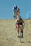 October 17, 2015 - Boulder, Colorado, U.S. - Elite cyclist, Meredith Miller, leads the way down a difficult decent during the U.S. Open of Cyclocross, Valmont Bike Park, Boulder, Colorado.