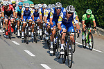 Quick-Step Floors on the front of the peloton during Stage 19 of the 2017 La Vuelta, running 149.7km from Caso. Parque Natural de Redes to Gij&oacute;n, Spain. 8th September 2017.<br /> Picture: Unipublic/&copy;photogomezsport | Cyclefile<br /> <br /> <br /> All photos usage must carry mandatory copyright credit (&copy; Cyclefile | Unipublic/&copy;photogomezsport)