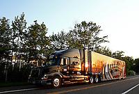 May 29, 2013; Englishtown, NJ, USA: The car hauler of NHRA top fuel dragster driver Khalid Albalooshi pulls into Raceway Park. Mandatory Credit: Mark J. Rebilas-
