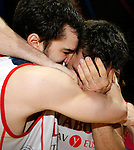 Caja Laboral Baskonia's Pau Ribas (l) and Fernando San Emeterio celebrate the victory in the ACB Finals. June 15,2010. (ALTERPHOTOS/Acero)