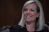 WASHINGTON, DC - NOVEMBER 8:  Kirstjen Nielsen testifies at her Senate confirmation hearing, to be Secretary of Homeland Security. Credit: Patsy Lynch/MediaPunch