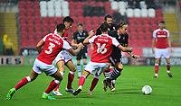 Lincoln City's Jordan Maguire-Drew vies for possession with Rotherham United's Darren Potter<br /> <br /> Photographer Andrew Vaughan/CameraSport<br /> <br /> The Carabao Cup First Round - Rotherham United v Lincoln City - Tuesday 8th August 2017 - New York Stadium - Rotherham<br />  <br /> World Copyright &copy; 2017 CameraSport. All rights reserved. 43 Linden Ave. Countesthorpe. Leicester. England. LE8 5PG - Tel: +44 (0) 116 277 4147 - admin@camerasport.com - www.camerasport.com