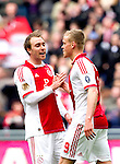 Nederland, AMsterdam, 1 April 2012.Eredivisie.Seizoen 2011-2012.Ajax-Heracles 6-0.Kolbeinn Sigthorsson van Ajaxwordt gefeliciteerd door Christian Eriksen na het scoren van de 6-0