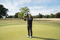 Tom Lewis holds the trophy after he wins the Bridgestone Challenge during the final round of the  Bridgestone Challenge, Louto Hoo Hotel, Bedfordshire, England. 09/09/2018.<br /> Picture  / Golffile.ie<br /> <br /> All photo usage must carry mandatory copyright credit (&copy; Golffile | )