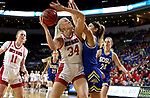 SIOUX FALLS, SD - MARCH 10: Hannah Sjerven #34 of the South Dakota Coyotes shoots against the South Dakota State Jackrabbits  during the women's championship game at the 2020 Summit League Basketball Tournament in Sioux Falls, SD. (Photo by Dave Eggen/Inertia)
