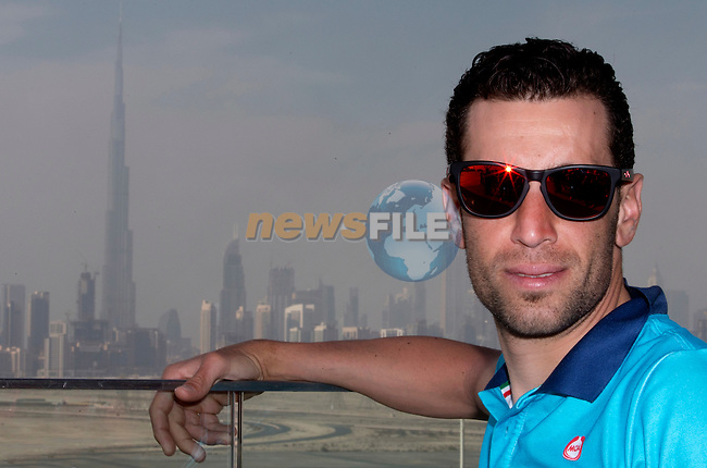 Vincenzo Nibali (ITA) Astana with Dubai city skyline in the background taken from the top of Meydan Racetrack grandstand Dubai to launch the 2015 Dubai Tour. 3rd February 2015.<br /> Photo: ANSA/CLAUDIO PERI/ www.newsfile.ie