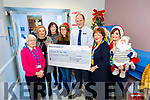 The Theatre and HSSD Staff at the Bons Secour presenting a cheque for €2,600 to Comfort for Chemo Kerry in the hospital on Monday. <br /> L to r: Sr Aidan O'Brien, Mary Carney, Siobhan Dowling, Valerie Sweeney, TJ O'Connor (Manager), Mary Fitzgerald (Comfort for Chemo) and Geraldine Riordan.