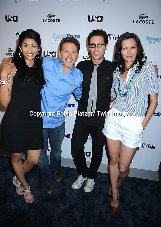 "Reshma Shetty, Mark Feuerstein, Paulo Costanzo and Jill Flint of ""Royal Pain""  posing at the USA Network and Vanity Fair celebration for the Second Season of  ""Royal Pains"" at the Lacoste Fifth Avenue Store on June 1, 2010 in New York City."