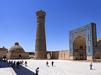 Alim-Khan-Medrese, Kalon Moschee und Minarett, Buchara, Usbekistan, Asien, UNESCO-Weltkulturerbe<br />