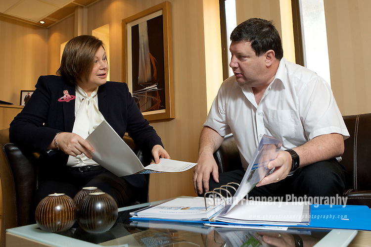 Pix: Shaun Flannery/shaunflanneryphotography.com...COPYRIGHT PICTURE>>SHAUN FLANNERY>01302-570814>>07778315553>>..4th December 2009...........Lynda Donaldson - Concervative Parliamentary candidate for the Rother Valley Constituency, Rotherham..Pictured with agent Andy Frith.