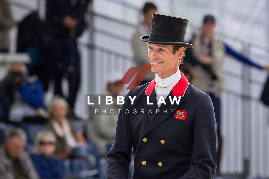 GBR-William Fox-Pitt (CHILLI MORNING) INTERIM-1ST: FIRST DAY OF DRESSAGE: EVENTING: The Alltech FEI World Equestrian Games 2014 In Normandy - France (Thursday 28 August) CREDIT: Libby Law COPYRIGHT: LIBBY LAW PHOTOGRAPHY - NZL