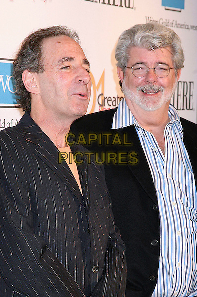 "HARRY SHEARER & GEORGE LUCAS.Writers Guild of America unveils ""101 Greatest Screenplays"", Beverly Hills, California, USA,.06 April 2006..half length.Ref: ADM/BP.www.capitalpictures.com.sales@capitalpictures.com.©Byron Purvis/AdMedia/Capital Pictures."