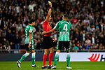 Zouhair Feddal sees the yellow card of Real Betis Balompie during La Liga match between Real Madrid and Real Betis Balompie at Santiago Bernabeu Stadium in Madrid, Spain. November 02, 2019. (ALTERPHOTOS/A. Perez Meca)