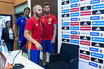 Coach Julen Lopetegui (L), Andres Iniesta (C) and Sergio Ramos (R) during press conference in the city of football of Las Rozas in Madrid, Spain September 01, 2017. (ALTERPHOTOS/Borja B.Hojas)
