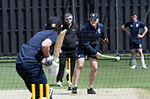 Cricket Scotland - Scotland train at Kent County cricket ground at Benkenham, ahead of two matches against Sri Lanka, on Sunday (tomorrow) and Tuesday - pic shows National Coach Grant Bradburn leading practice in the nets - picture by Donald MacLeod - 20.05.2017 - 07702 319 738 - clanmacleod@btinternet.com - www.donald-macleod.com
