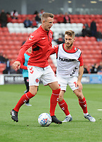 Fleetwood Town's Peter Clarke and Conor McAleny during the pre-match warm-up <br /> <br /> Photographer Kevin Barnes/CameraSport<br /> <br /> The EFL Sky Bet Championship - Fleetwood Town v AFC Wimbledon - Saturday 10th August 2019 - Highbury Stadium - Fleetwood<br /> <br /> World Copyright © 2019 CameraSport. All rights reserved. 43 Linden Ave. Countesthorpe. Leicester. England. LE8 5PG - Tel: +44 (0) 116 277 4147 - admin@camerasport.com - www.camerasport.com