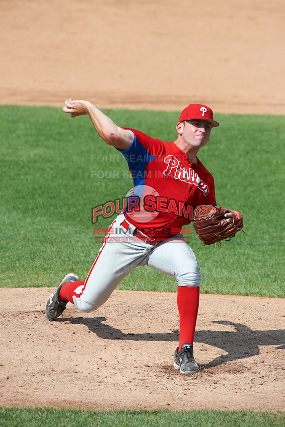 Matt Pidich #28 of Christian Brothers Academy in Aberdeen, New Jersey playing for the Philadelphia Phillies scout team during the East Coast Pro Showcase at Alliance Bank Stadium on August 4, 2012 in Syracuse, New York.  (Mike Janes/Four Seam Images)