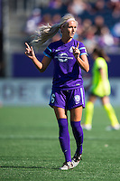 Orlando, Florida - Sunday, May 8, 2016: Orlando Pride midfielder Kaylyn Kyle (6) communicates with her defense during a corner kick during a National Women's Soccer League match between Orlando Pride and Seattle Reign FC at Camping World Stadium.