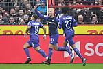 09.11.2019, Stadion an der Bremer Brücke, Osnabrück, GER, 2. FBL, VfL Osnabrueck vs. VfB Stuttgart<br /> <br /> ,DFL REGULATIONS PROHIBIT ANY USE OF PHOTOGRAPHS AS IMAGE SEQUENCES AND/OR QUASI-VIDEO, <br />   <br /> im Bild<br /> v.li. Marcos Alvarez (VfL Osnabrück #9) jubelt nach seinem Tor zum 1:0 mit Niklas Schmidt (VfL Osnabrück #31) und Felix Agu (VfL Osnabrück #27)<br /> <br /> <br /> Foto © nordphoto / Paetzel