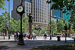"Charlotte NC Uptown - The ""Square"" is the Corners of Trade and Tryon, where the famous Four Statues are located"