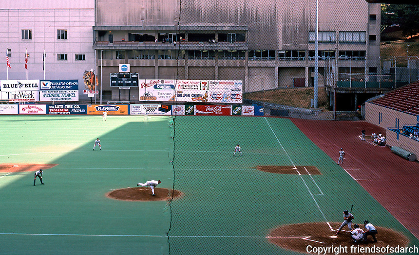 Ballparks: Portland Civic Stadium, a former dogtrack. Baseball since the fifties  (and football). 348' to right.