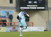 Adebayo Akinfenwa of Wycombe Wanderers picks the ball up and runs away to restart the match after his 88th Minute goal levelled the match at 1-1 during the Sky Bet League 2 match between Morecambe and Wycombe Wanderers at the Globe Arena, Morecambe, England on 29 April 2017. Photo by Stephen Gaunt / PRiME Media Images.