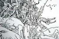 "Visual Arts:  Albrect Durer--Martyrdom of the ten thousand, detail.  Actual size of woodcut, 6"" x5""."