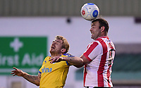 Lincoln City's Matt Rhead vies for possession with Chester's Blaine Hudson<br /> <br /> Photographer Chris Vaughan/CameraSport<br /> <br /> Vanarama National League - Lincoln City v Chester - Tuesday 11th April 2017 - Sincil Bank - Lincoln<br /> <br /> World Copyright &copy; 2017 CameraSport. All rights reserved. 43 Linden Ave. Countesthorpe. Leicester. England. LE8 5PG - Tel: +44 (0) 116 277 4147 - admin@camerasport.com - www.camerasport.com