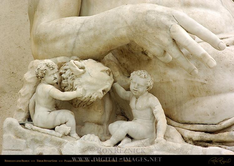 Romulus and Remus Tiber River God detail Michelangelo Stairs Palazzo Senatorio Campidoglio Capitoline Hill Rome