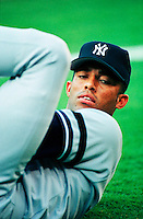 Mariano Rivera of the New York Yankees at Anaheim Stadium in Anaheim,California during the 1996 season. (Larry Goren/Four Seam Images)