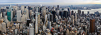 US, New York City. View from the Empire State Building observation deck. Midtown, East River, Brooklyn and Queens. Stitched panorama.