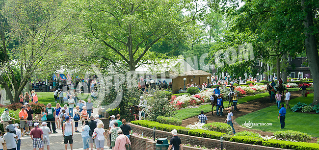 The paddock before the 1st race at Delaware Park on Opening Day on 5/16/15