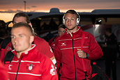 29th September 2017, AJ Bell Stadium, Salford, England; Aviva Premiership Rugby, Sale Sharks versus Gloucester; Gloucester Rugby's Ruan Ackermann arrives at the stadium