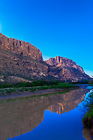 The Rio Grande RIver at Cottonwood, near Castolon inBig Bend National Park, Texas USA. The Rio Grande is the border between the U.S. and Mexico (Mexico is on the far side of the river).