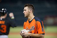 AZL Giants right fielder Nick Hill (22) between innings against the AZL Cubs on September 6, 2017 at Sloan Park in Mesa, Arizona. AZL Giants defeated the AZL Cubs 6-5 to even up the Arizona League Championship Series at one game a piece. (Zachary Lucy/Four Seam Images)