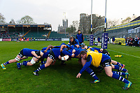 Bath United forwards practise their scrum during the pre-match warm-up. Premiership Rugby Shield match, between Bath United and Gloucester United on April 8, 2019 at the Recreation Ground in Bath, England. Photo by: Patrick Khachfe / Onside Images