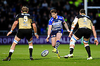 Danny Cipriani of Sale Sharks puts in a grubber kick. European Rugby Challenge Cup quarter final, between Sale Sharks and Montpellier on April 8, 2016 at the AJ Bell Stadium in Manchester, England. Photo by: Patrick Khachfe / JMP