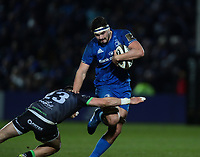 4th January 2020; RDS Arena, Dublin, Leinster, Ireland; Guinness Pro 14 Rugby, Leinster versus Connacht; Max Deegan (Leinster) drives through the tackle from Tiernan O'Halloran (Connacht)   - Editorial Use