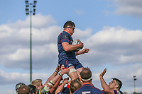 Dom McGeekie of London Scottish wins the line out during the Greene King IPA Championship match between London Scottish Football Club and Nottingham Rugby at Richmond Athletic Ground, Richmond, United Kingdom on 15 April 2017. Photo by David Horn.