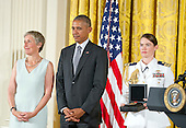 United States President Barack Obama presents the 2015 National Humanities Medal to Prison University Project, Higher Education Program of San Quentin, California, during a ceremony in the East Room of the White House in Washington, DC on Thursday, September 22, 2016.<br /> Credit: Ron Sachs / CNP
