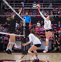 STANFORD, CA - November 15, 2017: Merete Lutz, Audriana Fitzmorris at Maples Pavilion. The Stanford Cardinal defeated USC 3-0 to claim the Pac-12 conference title.
