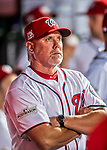 6 October 2017: Washington Nationals Hitting Coach Rick Schu stands in the dugout awaiting the start of the NLDS against the Chicago Cubs at Nationals Park in Washington, DC. The Cubs shut out the Nationals 3-0 to take a 1-0 lead in their best of five Postseason series. Mandatory Credit: Ed Wolfstein Photo *** RAW (NEF) Image File Available ***